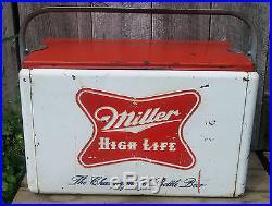 Original Vintage Mid Century Metal Miller High Life Beer Picnic Cooler