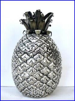 Pineapple Metal Ice Bucket Cooler Italian Design Mid Century Vintage Antique