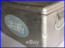 RARE ANTIQUE VINTAGE Pepsi Cola Metal Cooler Ice Box Chest Light Blue Logo