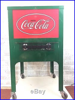 Rare Vintage Coca Cola Green Red Metal Rolling Ice Box Cooler Cart Collectible