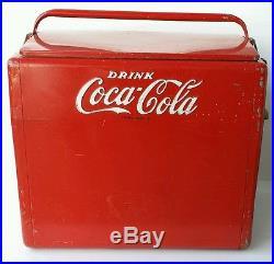 Rare Vintage Metal Coca-cola Cooler 1950's Large Heavy Tray Cavalier Nice