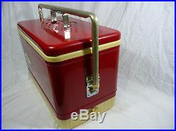 Rare Vintage Metal USA Coleman Cooler Freezer Antique Car Accessory Red Clean