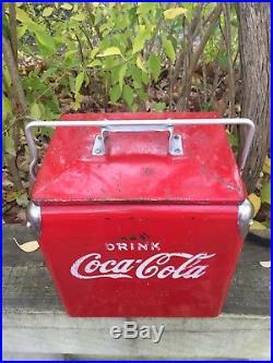 RARE Vintage 1950's Coca-Cola 6 Pack Cooler Metal Mini Junior Soda Coke Chest
