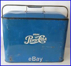 RARE Vintage 1950's PEPSI-COLA Ice Box Metal Cooler Original Blue Narrow Model
