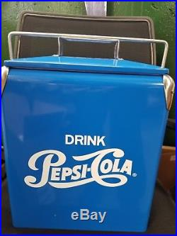 RARE! Vintage Retro Blue Metal Pepsi Cola Cooler with Bottle opener