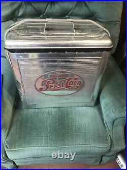 RARE Vintage c. 1950's Pepsi Cola Soda Aluminum Cooler Ice Chest Airline Sales