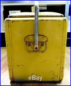 (RI4) Vintage 1950s RC Royal Crown Cola Picnic Cooler Embossed Metal Sign