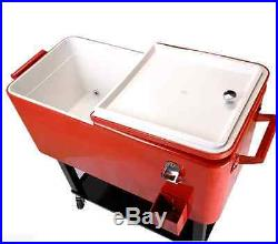 Rolling Metal Cooler Wheels 80-qt Patio Porch Deck Ice Bucket Christmas Gift