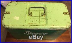Rare 1950's Two-Tone Green Pleasure Chest Coca-Cola Like Metal Cooler Ice Chest
