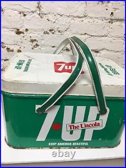 Rare -VINTAGE 7UP -PICNIC BASKET-METAL COOLER SIGN PEPSI -Chein Co Made In USA