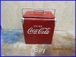 Rare Vintage 1950's Coca Cola Soda Pop Acton Junior Picnic Cooler Metal Sign