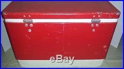 Rare Vintage Coleman Cooler Rare Red Metal Steel 18l X 11w X 13h