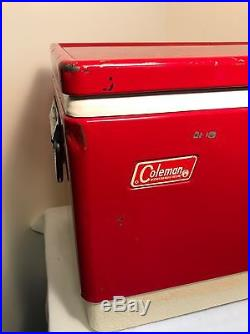 Rare Vintage Coleman Picnic Cooler Rare Red Metal Steel 18l X 10.5 W X 14h
