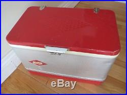 Rare Vintage Coleman Red/silver Metal Cooler Ice Chest Diamond Logo