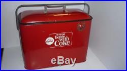 Rare Vintage Embossed Coca Cola Metal Cooler Chest w Bottle Opener 1960's