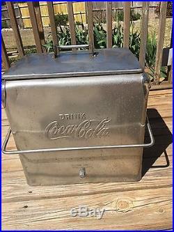 Rare Vintage Metal Coca Cola Cooler 1950's with bottle opener built in