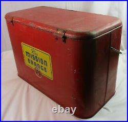 Rare Vintage Mission Orange of California Soda Metal Cooler Hinge Lid + Handle