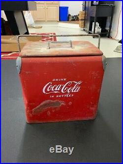 Rare Vintage Red 1940/50s Coca Cola Metal Cooler Fast Shipping