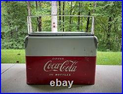 Rare Vintage Red & White Coca Cola Cooler Acton Mfg Metal Low Boy