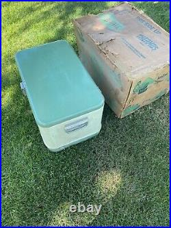 Rare Vintage Thermos /Coleman Two Tone Metal Ice Chest Cooler Green Olive Vw Bus