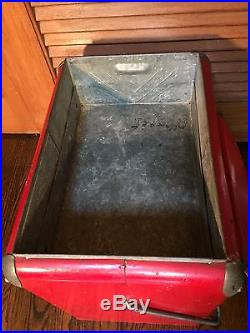 Rare! Vtg 1950's ACTON Red Metal COCA COLA COOLER Ice Chest