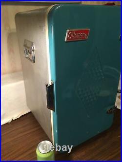 Rare coleman picnic cooler upright refrigerator style 1960s aluminum 23x13 rare
