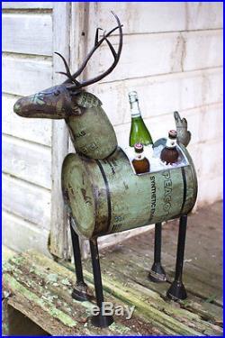 Reclaimed Metal Barrel Deer Planter Or Beverage Tub Ice Cooler Drink Rustic Elk