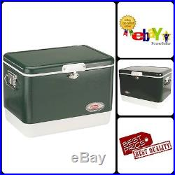 Retro Steel Belted Cooler Outdoor Camping Picnic Ice Refresh Cooler 54 Quart New