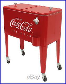 Rolling Cooler 65 Quart Retro Sturdy Metal Insulated Coca-Cola Ice Box Party