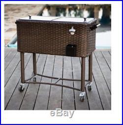 Rolling Cooler 80 qt. Wicker Patio Garden Furniture Entertaining Metal Cart Cool