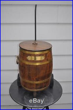 Rustic Antique Wood Oak Brass Storage Cooler Bar Metal Lined Barrel 16 with Cart