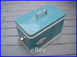 SCARCE VINTAGE BLUE COLEMAN 1960'S DIAMOND LOGO METAL COOLER With METAL HANDLE