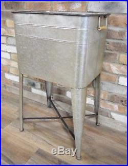SET 3 Rustic Industrial Galvanised LARGE Garden Planters Wine Bottle Cooler NEW