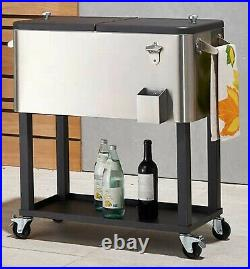 Stainless Steel Cooler Ice Chest 100 or 80 Qt Portable Metal with Cover
