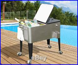 Stainless Steel Wheeled beverage cooler Cranston 80-Quart-for cans and bottles