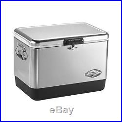 Steel Belted Cooler Camping Ice Box Rubber Grip Handles Rust Resistant 54 Quart