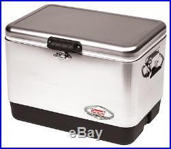 Steel Coleman 54 Quart Belted Cooler, Silver