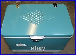 Super Clean in Box Vintage Snow-Lite AQUA 5215 B704 Metal Coleman Cooler
