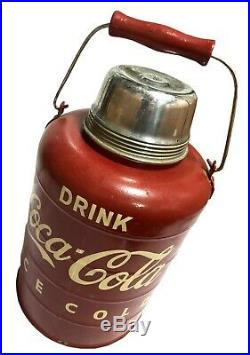 Tin Ice Cold Thermos w Spout Vintage Old Metal Cooler For Coca Cola Soda OA 027