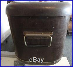 VINTAGE 1940 50'S PORTA FREEZE ICE BOX, COOLER w ORG CORK LINNED METAL INSERT