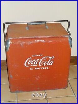 VINTAGE 1950's Original Coca Cola Metal Cooler with Lid Tray Bottle Opener Drain
