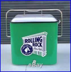 VINTAGE 1950's ROLLING ROCK BEER COOLER ICE CHEST METAL with bottle opener