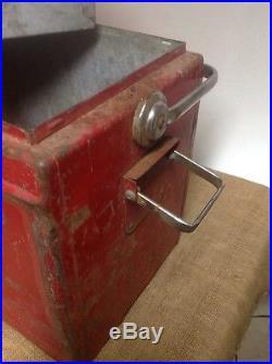 VINTAGE 1950S METAL COCA COLA COOLER W Shelf Galvanized LOUISVILLE KY