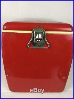 VINTAGE 1950s COCA COLA PICNIC COOLER ST. THOMAS METAL SIGN ICE CHEST GOOD