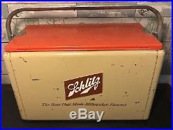 VINTAGE 1950s CRONSTROMS METAL SCHLITZ BEER ADVERTISING COOLER SCARCE