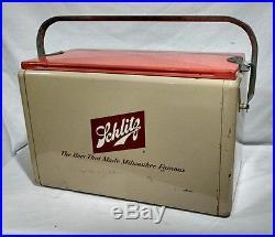VINTAGE 1950s SCHLITZ BEER CAN BOTTLE ICE METAL COOLER BAR Tan/Orange NICE