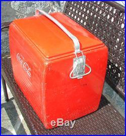 Vintage 1957 Red Metal Coca-cola Cooler Beautiful Condition