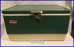 VINTAGE 1970's Coleman Metal Cooler Camping Ice Chest Green 22 x 16 x 13 Withplug