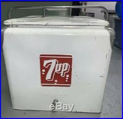 VINTAGE 7-up Metal Soda Pop Bottle Cooler, Ice Chest, ADVERTISING Sign