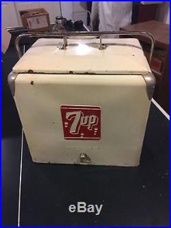 VINTAGE 7UP SEVEN UP METAL COOLER 1950's Complete
